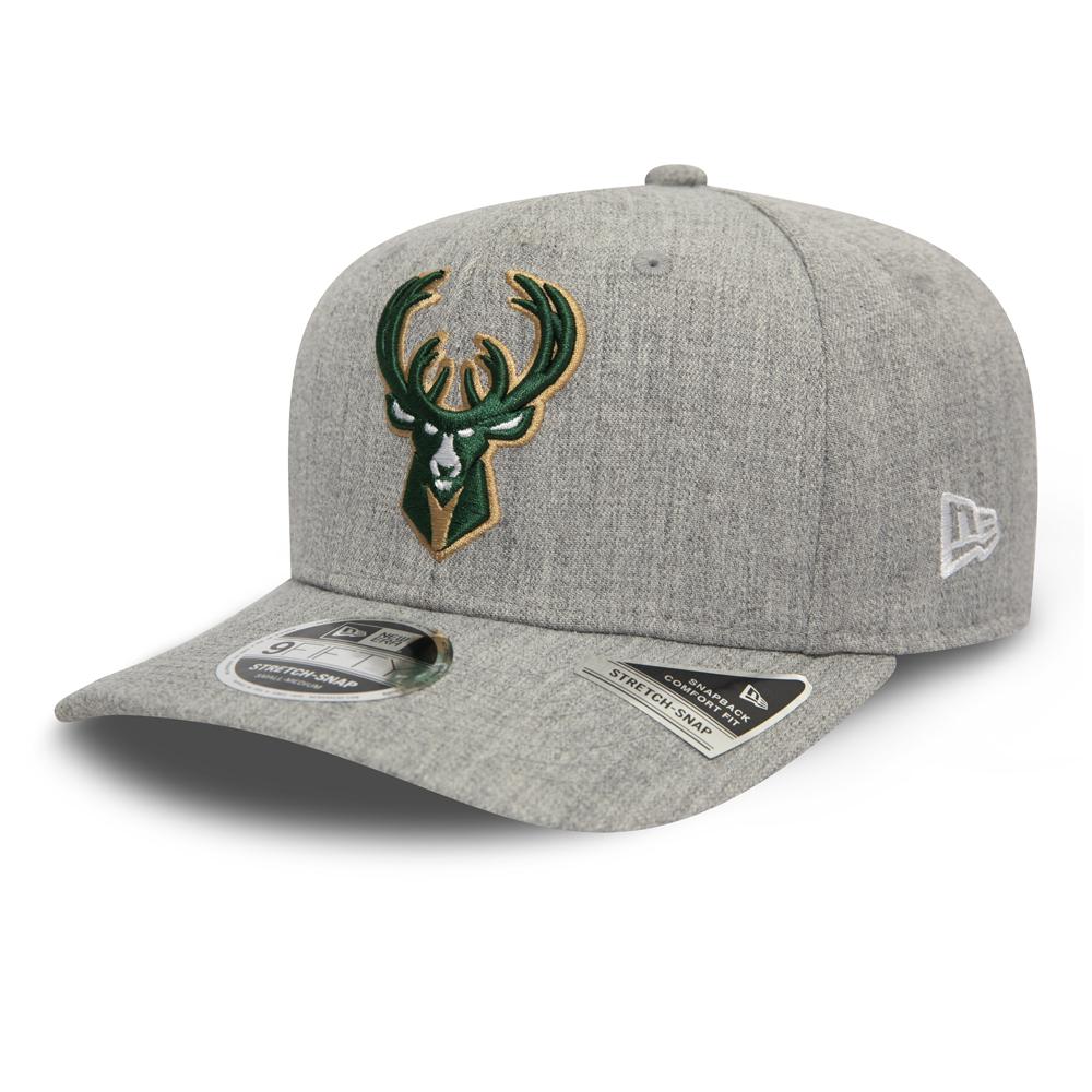 """Milwaukee Bucks """"Heather Base"""" elastische 9FIFTY-Kappe in Grau mit Clipverschluss"""