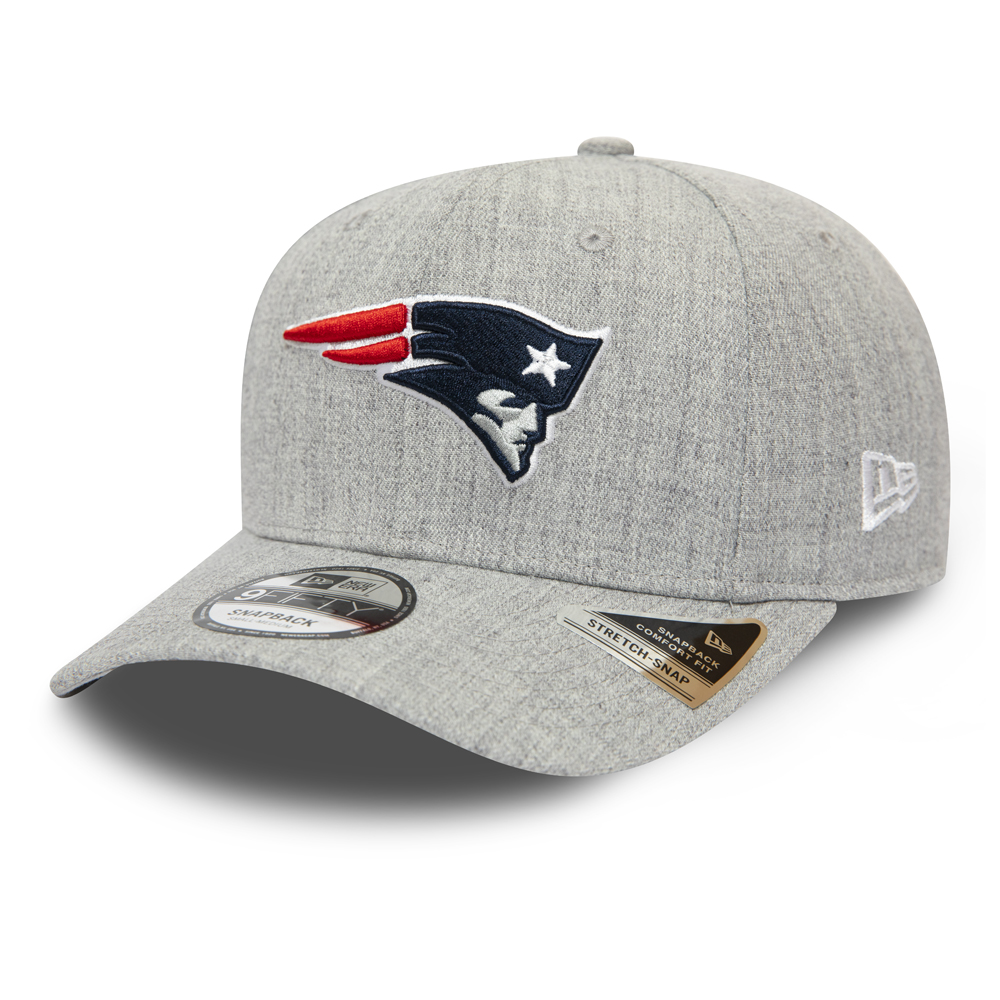New England Patriots Heather Base Grey Stretch Snap 9FIFTY Cap