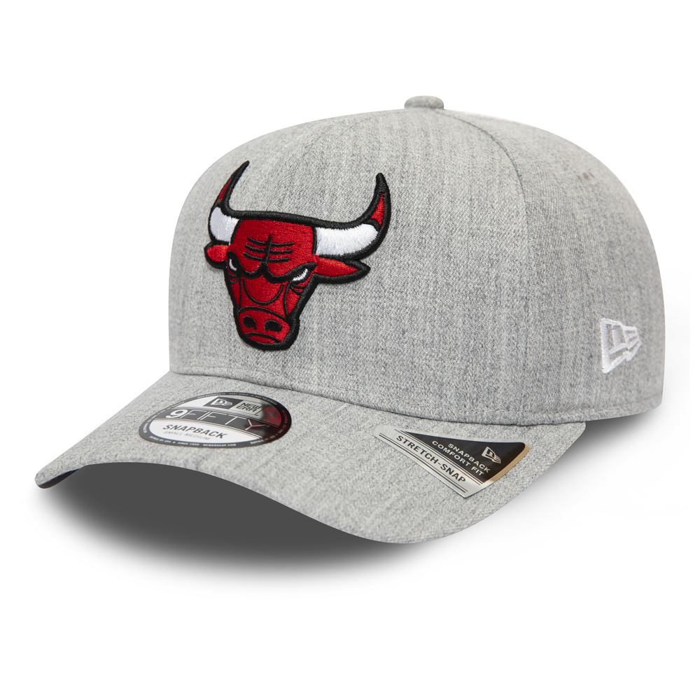 Chicago Bulls Heather Base Grey Stretch Snap 9FIFTY Cap