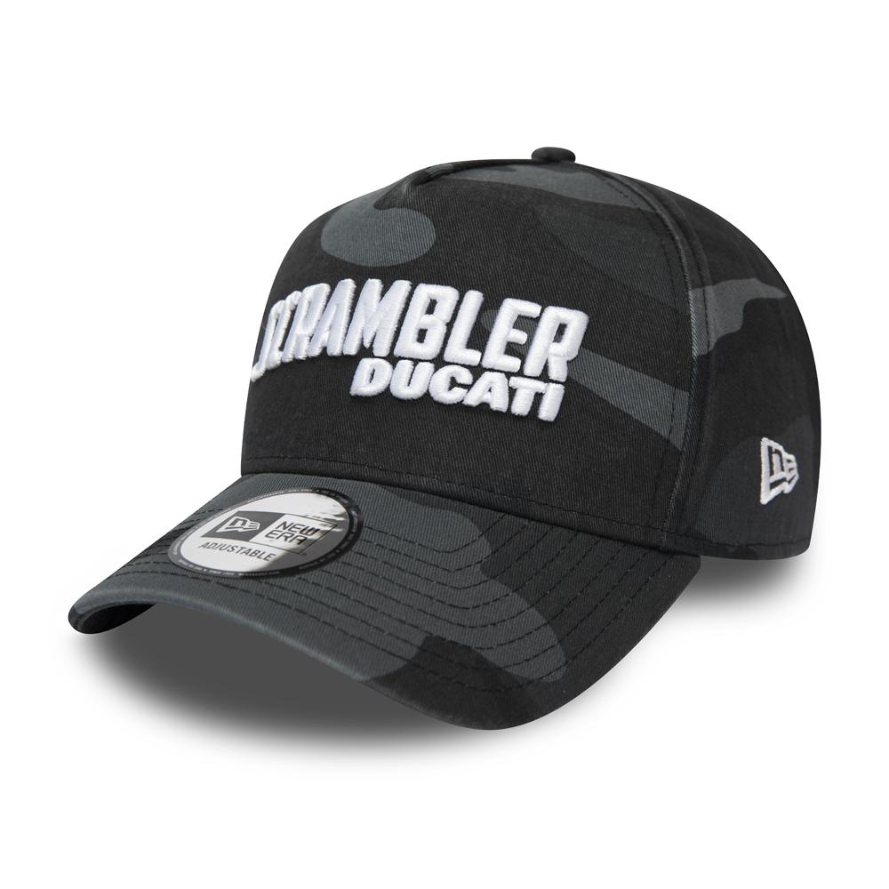 Ducati Scrambler Trucker-Kappe mit A-Frame in schwarzer Camouflage