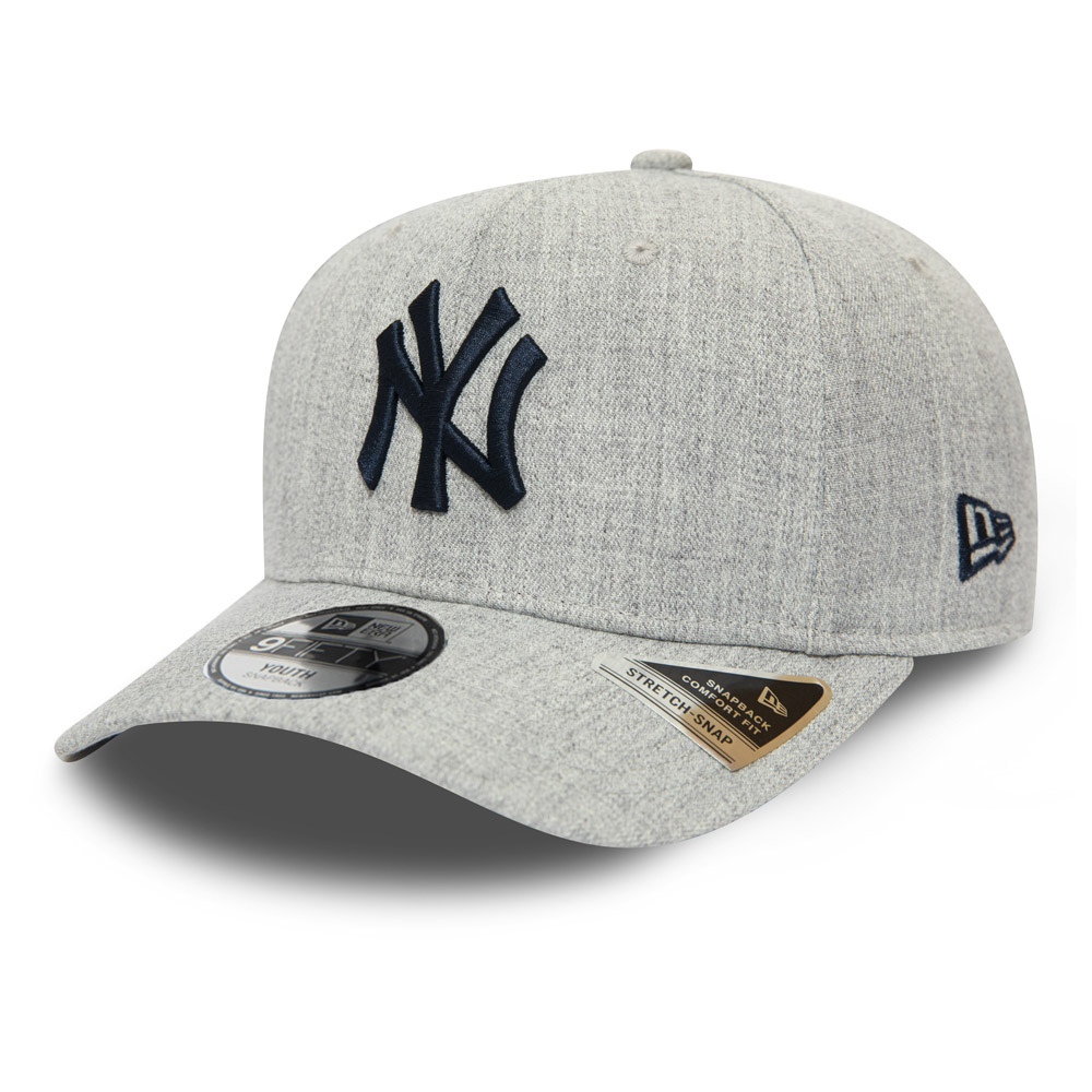 New York Yankees Heather Base Kids Grey Stretch Snap 9FIFTY Cap