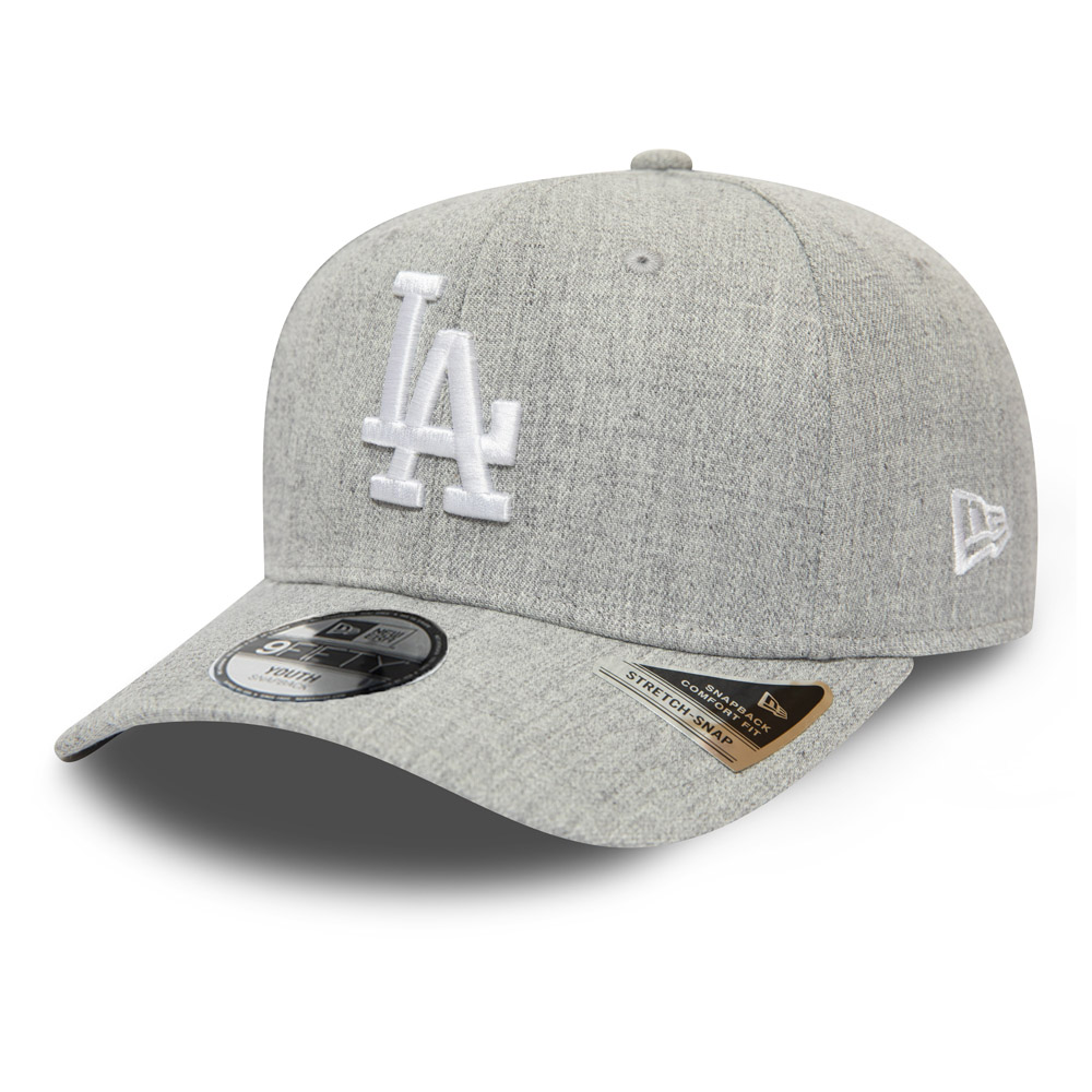 Los Angeles Dodgers Heather Base Kids Grey Stretch Snap 9FIFTY Cap