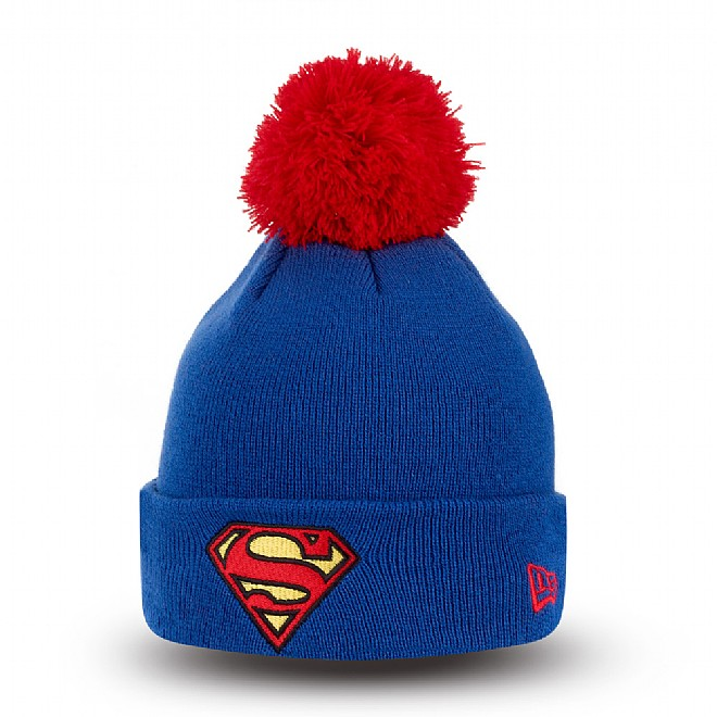 Bonnet à revers et pompon Superman bleu adolescent