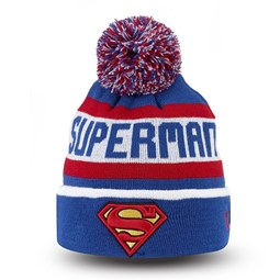 Bonnet à revers et pompon Superman Adolescent