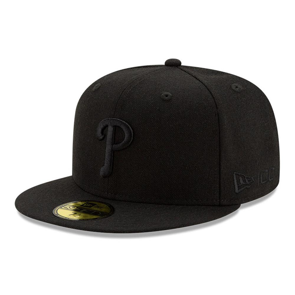 Cappellino 59FIFTY Philadelphia Phillies 100 Years Black on Black