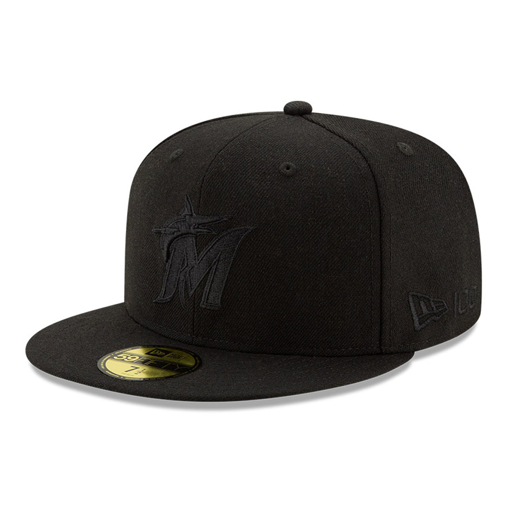 Miami Marlins 100 Years Black on Black 59FIFTY Cap