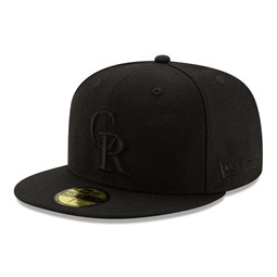 Colorado Rockies 100 Years Black on Black 59FIFTY Cap