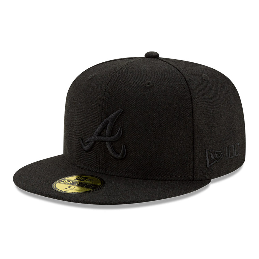 Cappellino 59FIFTY Atlanta Braves 100 Years Black on Black
