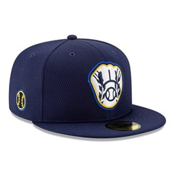 Casquette 59FIFTY Batting Practice Milwaukee Brewers, bleu marine