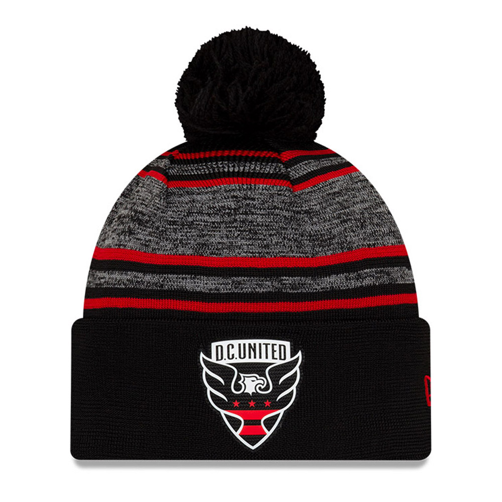 D.C. United Black Striped Bobble Beanie Hat