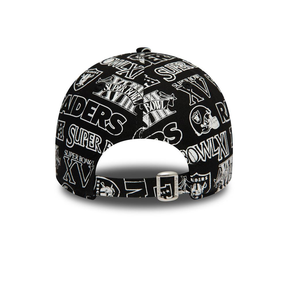 Gorra Raiders All Over Print Logo 9FORTY, negro