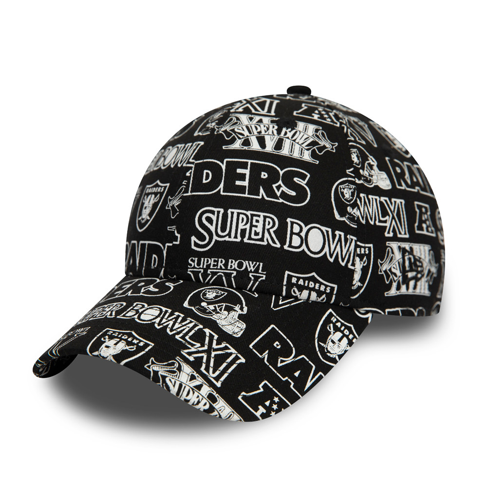 Cappellino Raiders All Over Print Logo 9FORTY nero