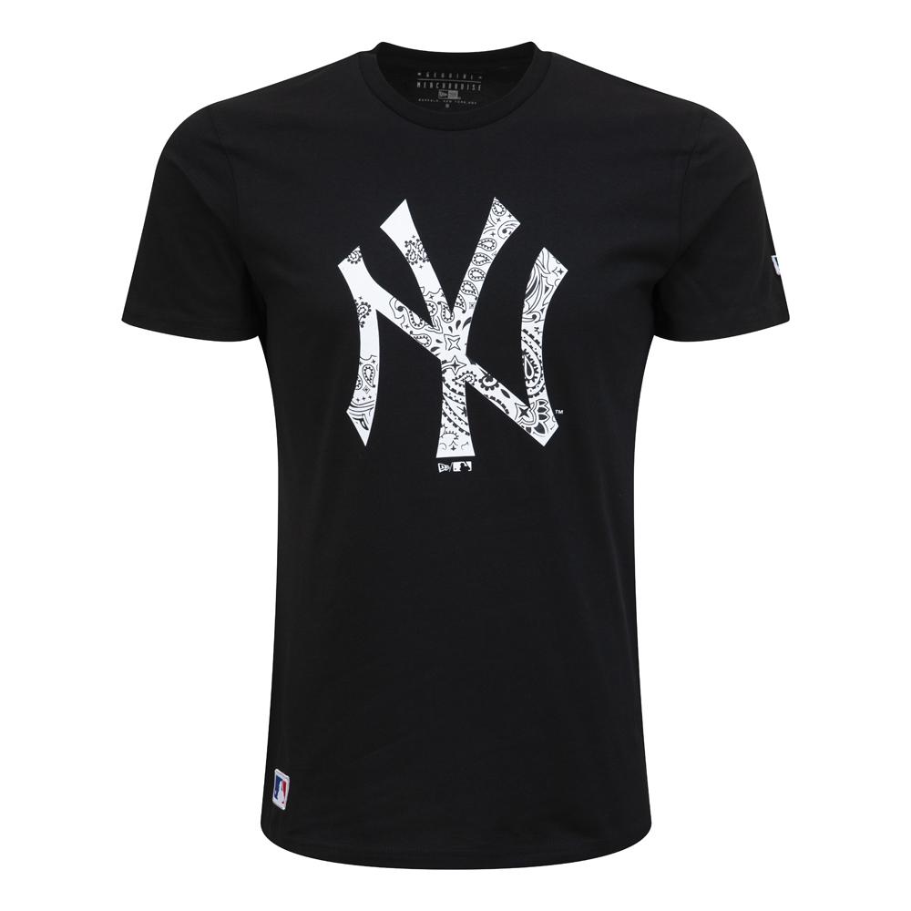 new york yankees – t-shirt in schwarz-weiß mit paisley