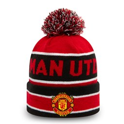 Manchester United Striped Red Multi Bobble Beanie Hat