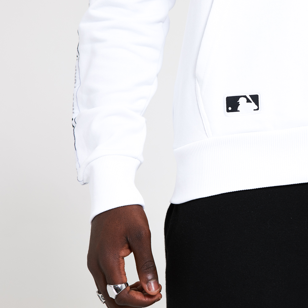 New York Yankees Taped Sleeve White Hoodie