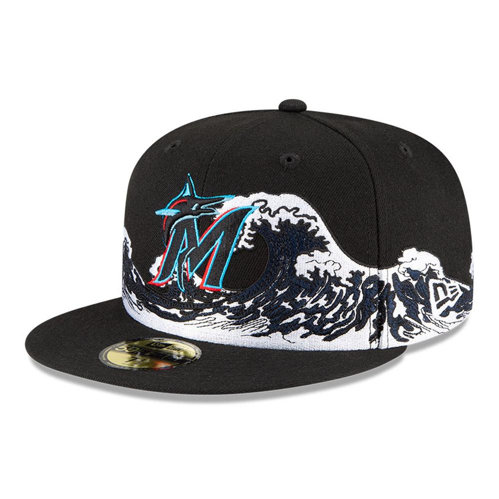 Casquette Miami Marlins 100 ans Wave 59FIFTY, noir