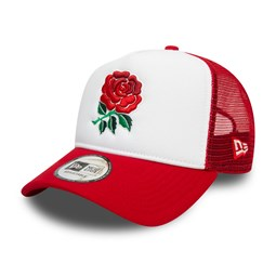 Casquette Trucker England Rugby Union Rose, blanc
