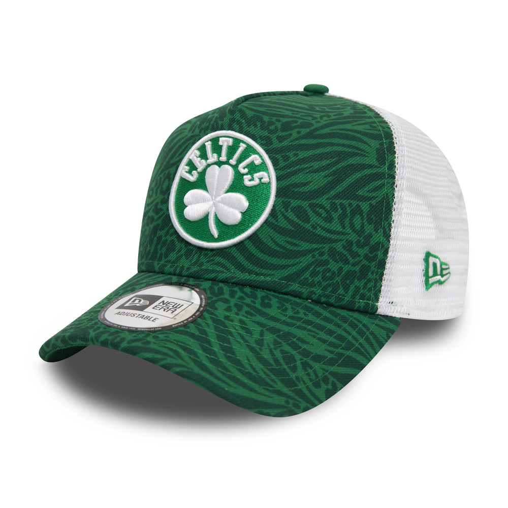 Boston Celtics Hook All Over Print Green Trucker