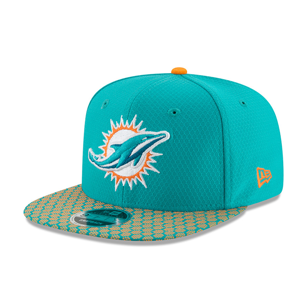 Miami Dolphins 2017 Sideline OF 9FIFTY Aqua Snapback 0d933be7e0ca