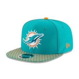 06b21432d5a48 Miami Dolphins 2017 Sideline OF 9FIFTY Aqua Snapback