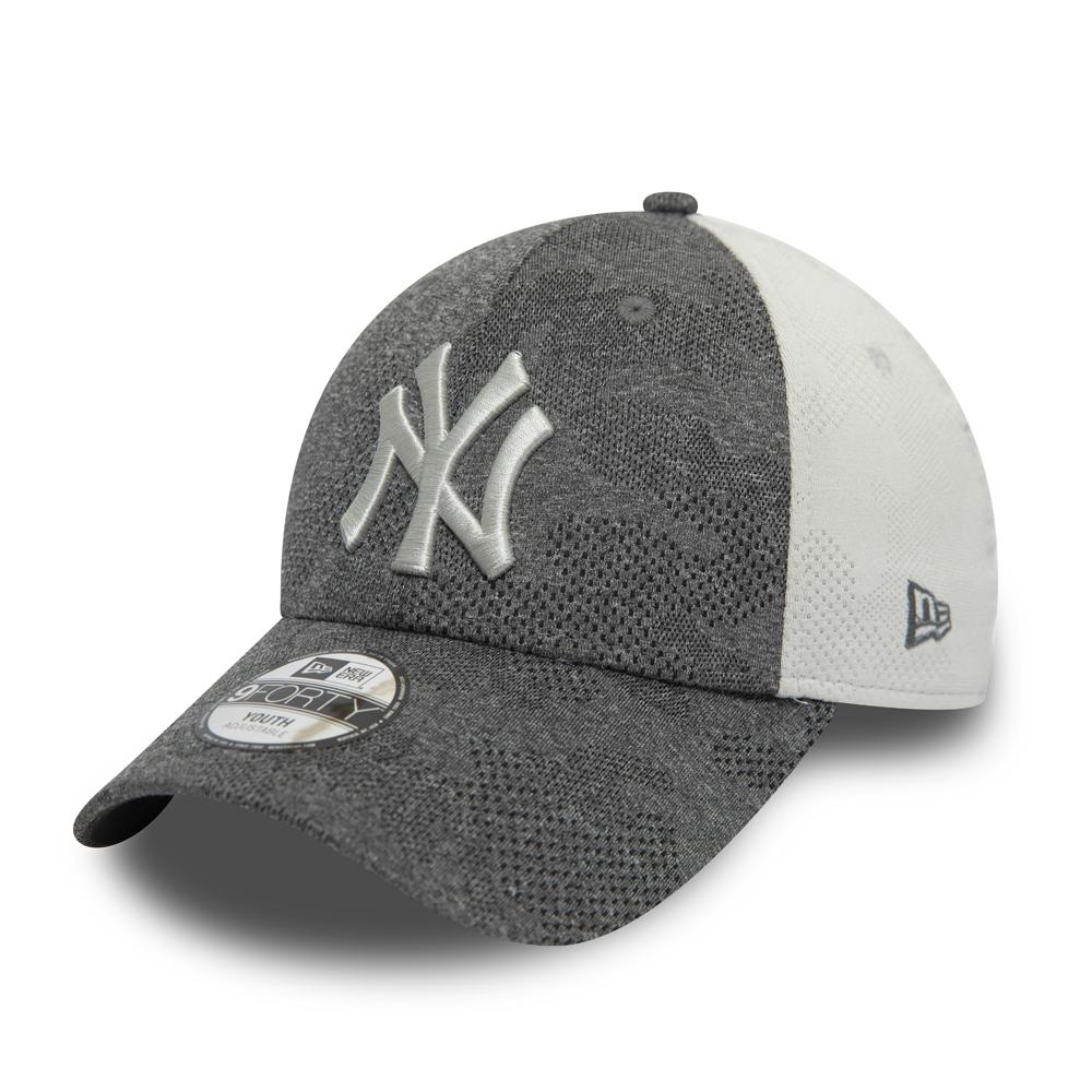 9FORTY – New York Yankees – Engineered Plus – Kontrastierte Kinderkappe in Grau