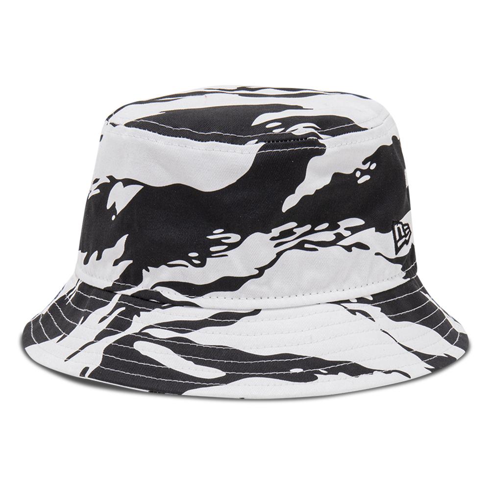 Cappello da pescatore New Era Tiger Print bianco
