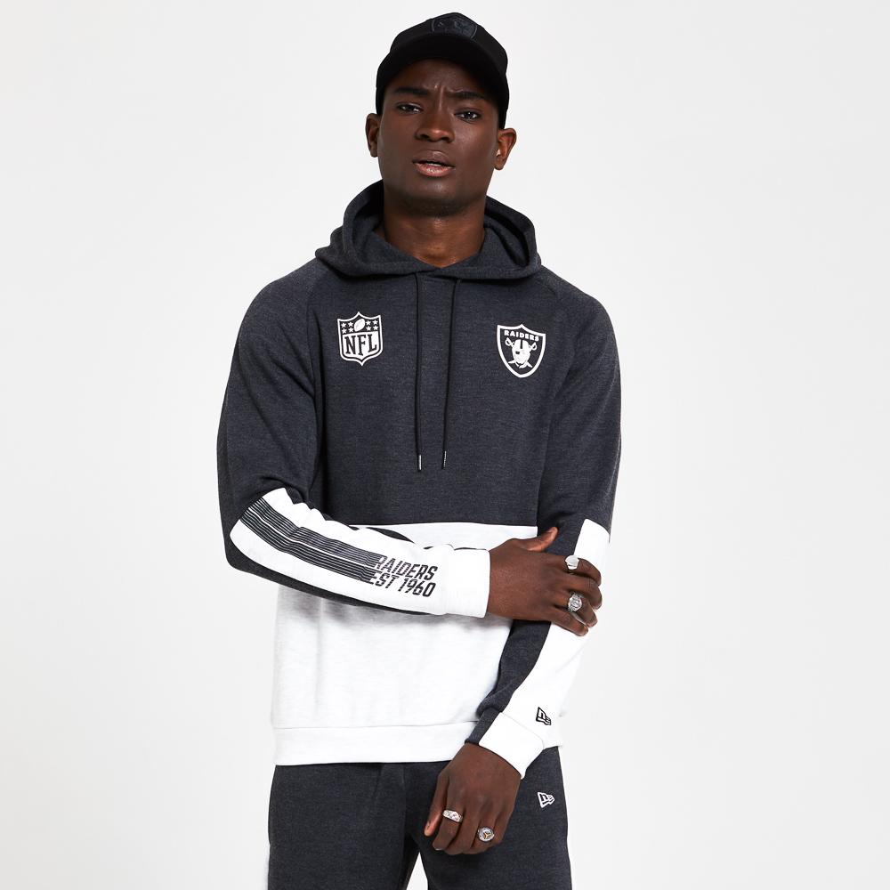 Felpa con cappuccio a blocchi di colore degli Oakland Raiders grigio