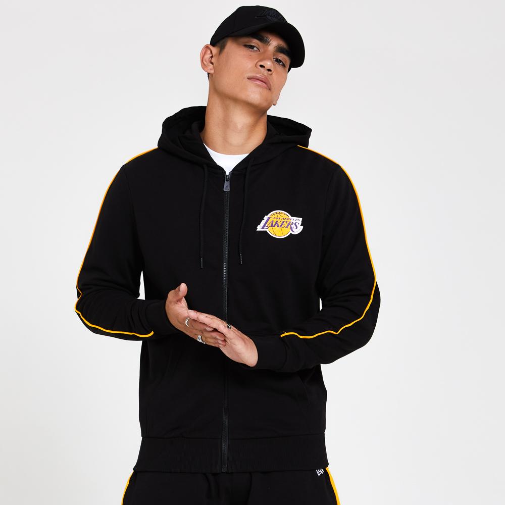 Sudadera con cremallera Los Angeles Lakers Stripe Piping, negro