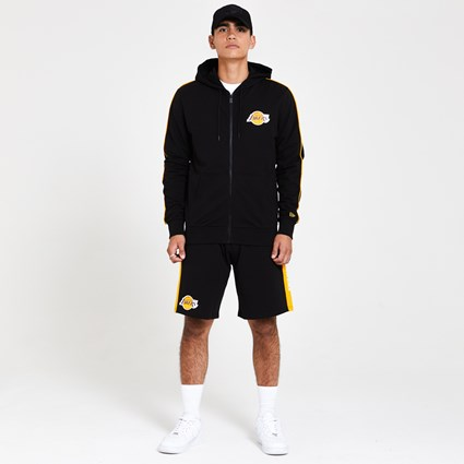 Los Angeles Lakers Stripe Piping Zip Up Black Hoodie