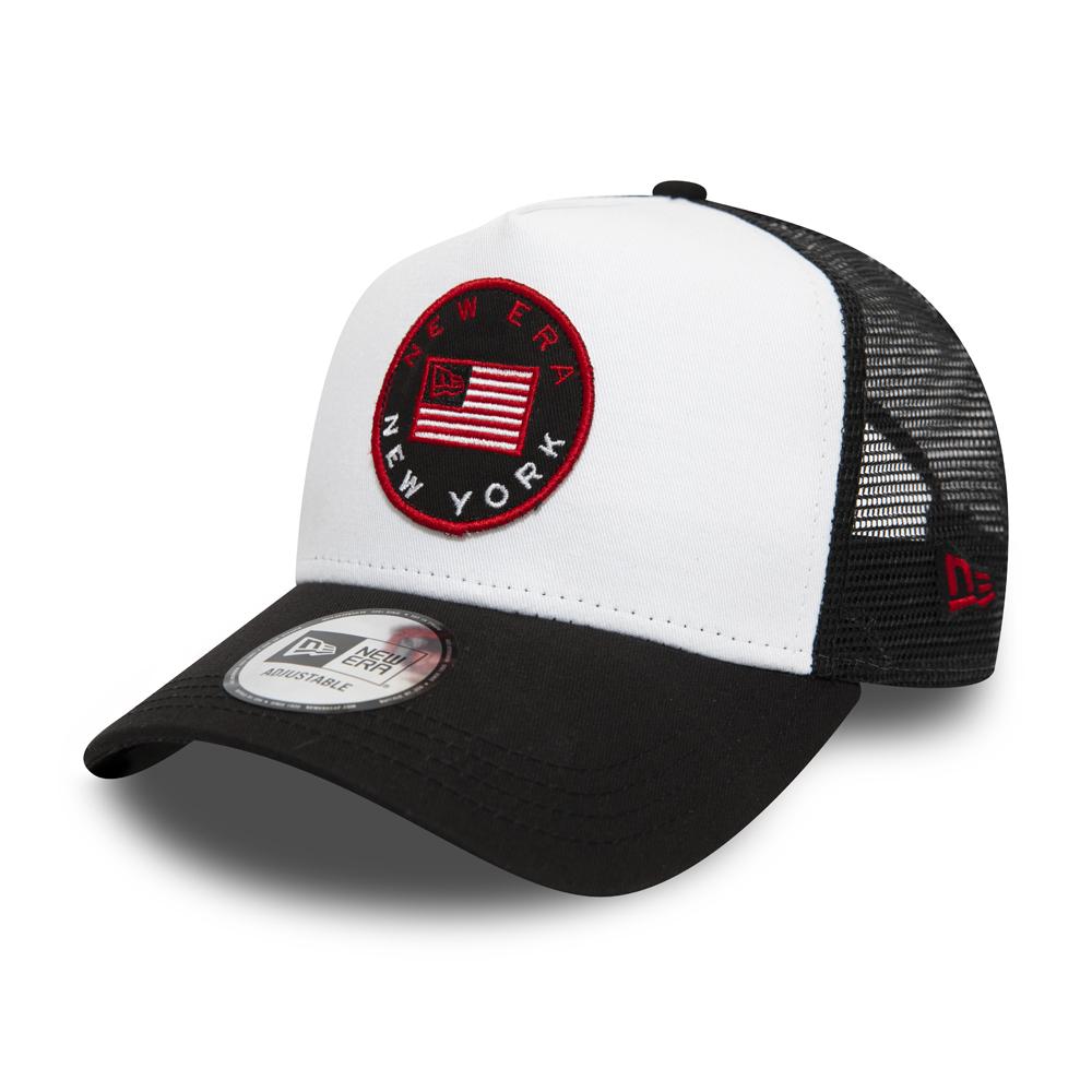 Gorra trucker New Era USA Flag Black Patch, blanco