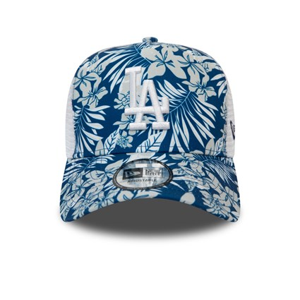 Los Angeles Dodgers Floral Print Blue Trucker