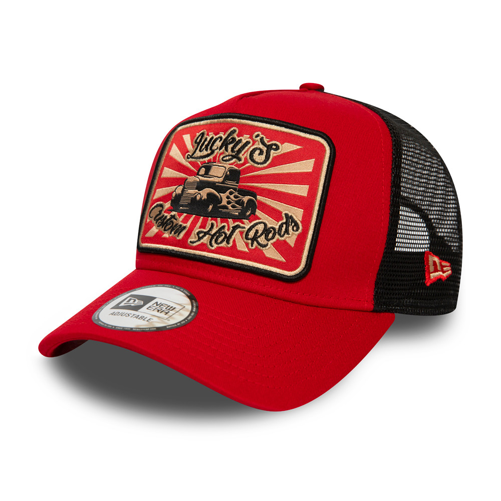 New Era Hot Rod Fabric Patch Red Trucker