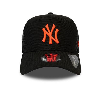 New York Yankees Diamond Era Neon Pink Logo Black Trucker