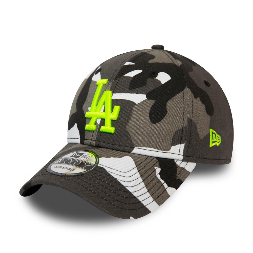 9FORTY – Los Angeles Dodgers – Kappe mit schwarzem Camouflagemuster und Neonlogo