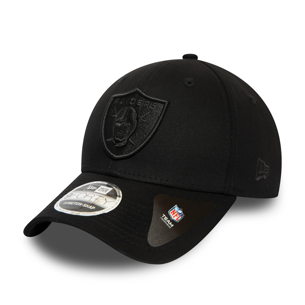 Las Vegas Raiders All Black Stretch Snap 9FORTY Cap