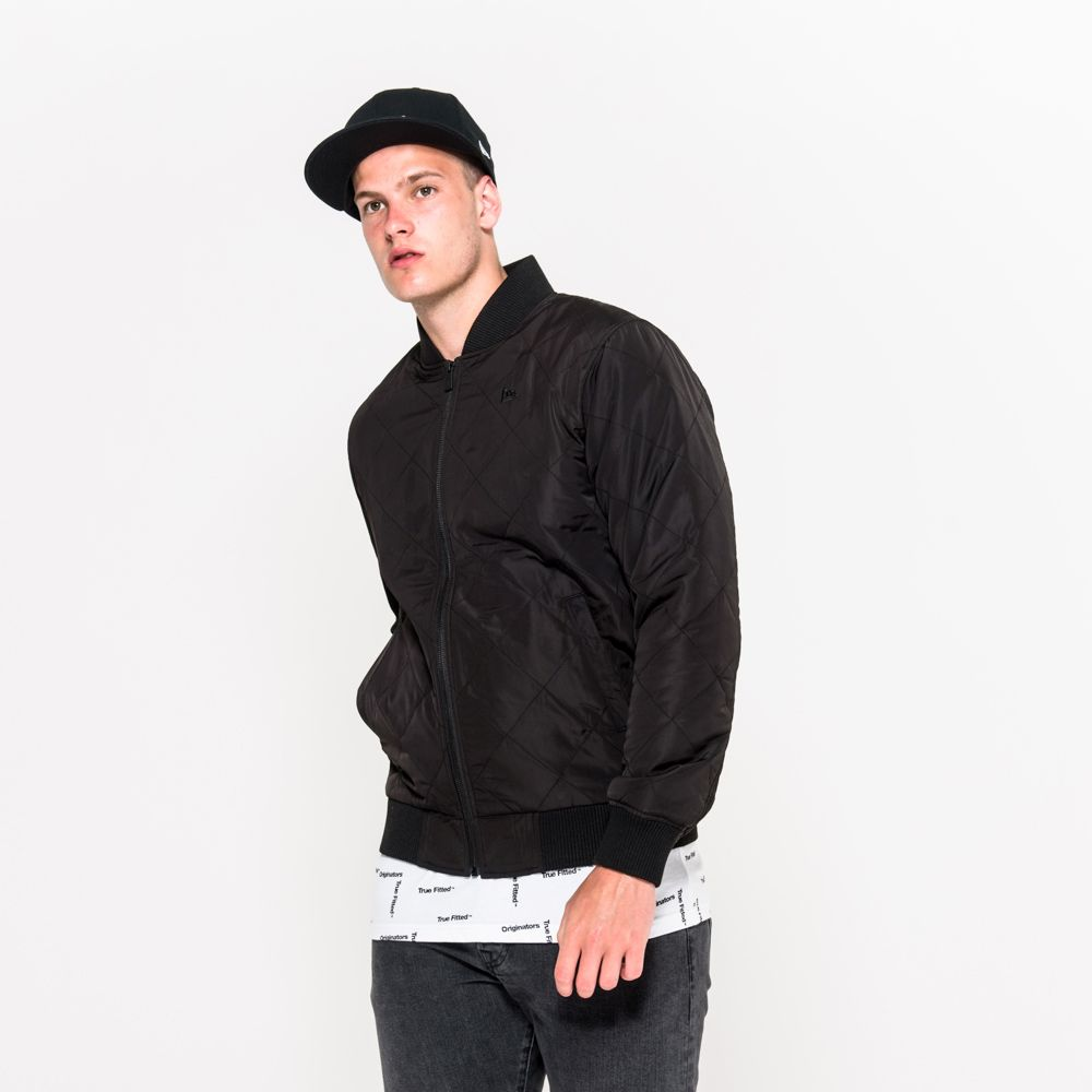 New Era Originators Quilted Black Bomber Jacket