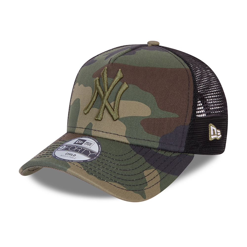 New York Yankees Camo Kids Green 9FORTY Trucker Cap