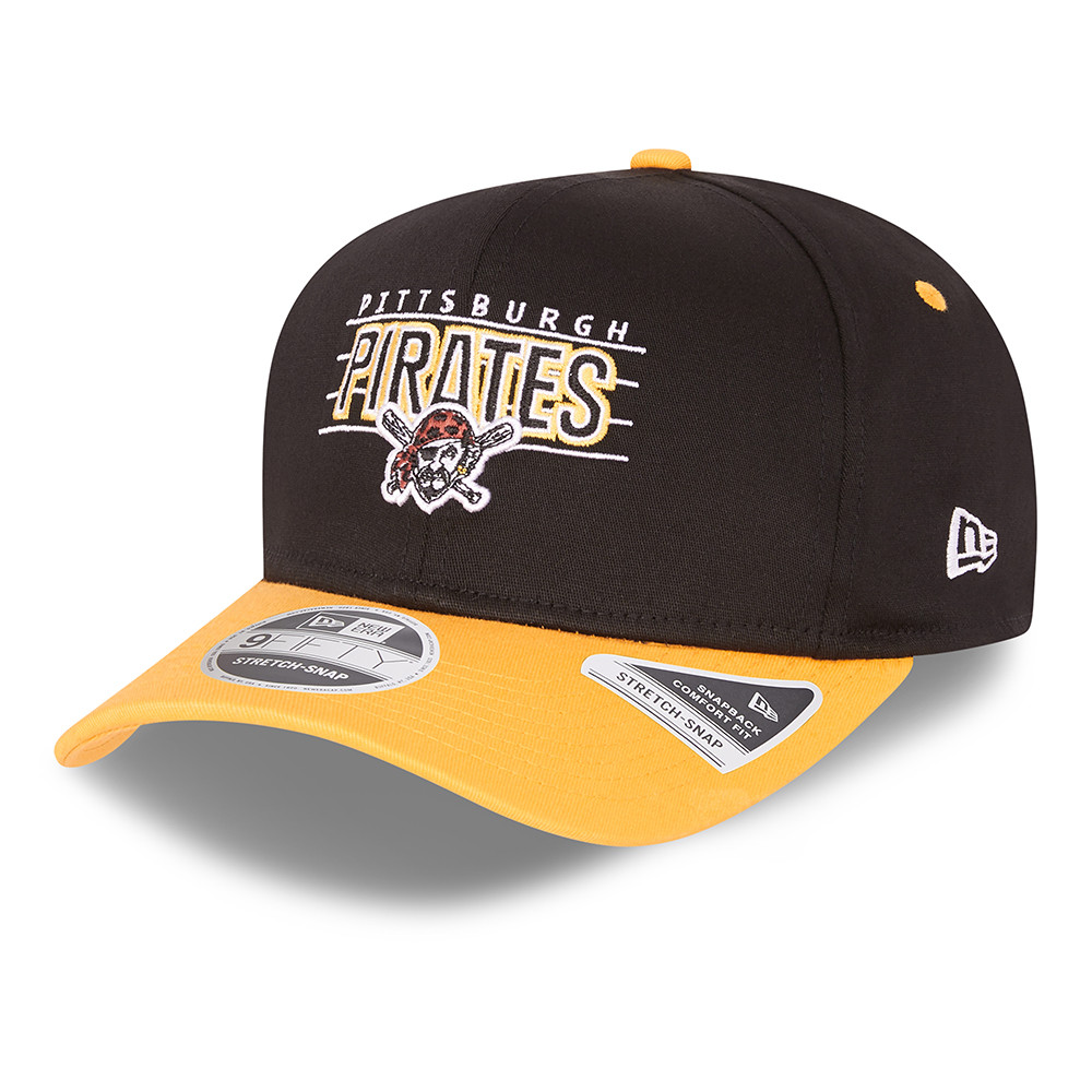 9FIFTY – Pittsburgh Pirates – Wordmark – Stretchkappe in Schwarz mit Clipverschluss