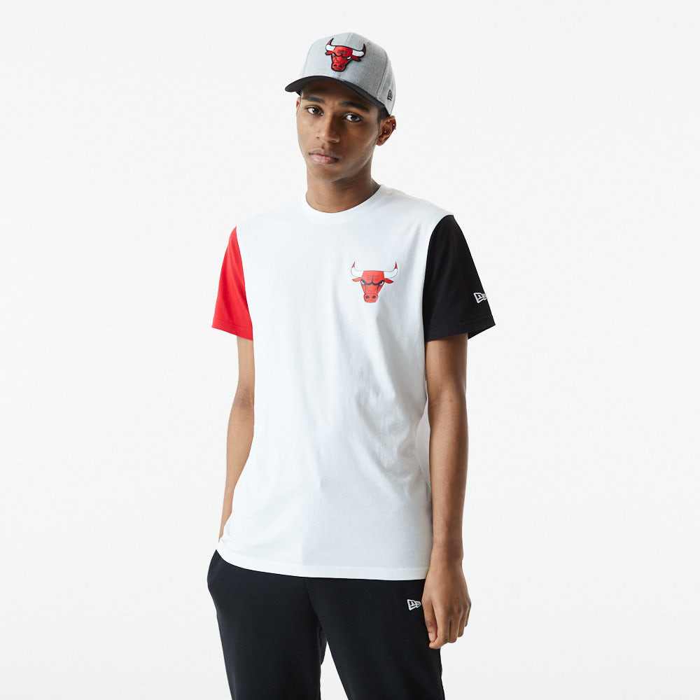 T-shirt Colour Block Chicago Bulls, blanc