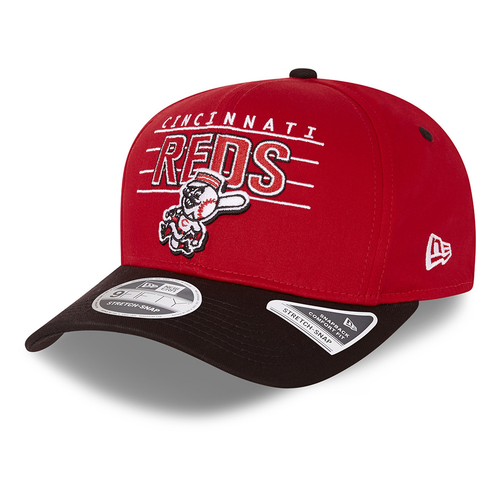 9FIFTY – Cincinnati Reds – Wordmark – Stretchkappe in Rot mit Clipverschluss