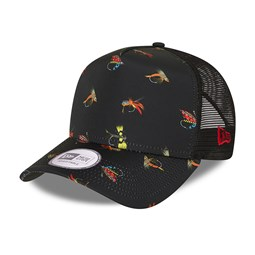 New Era Fishing Print Black A-Frame Trucker Cap