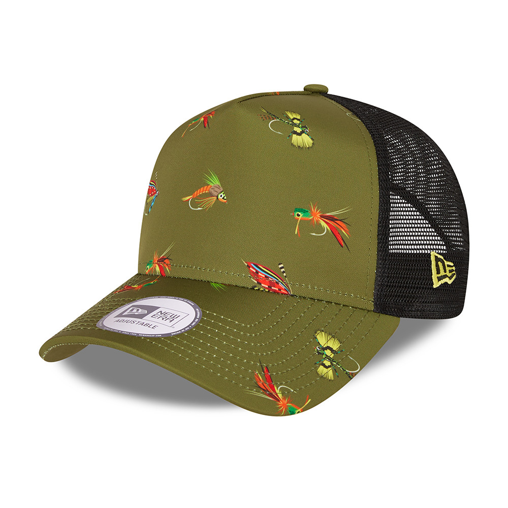 New Era Fishing Print Green A-Frame Trucker Cap
