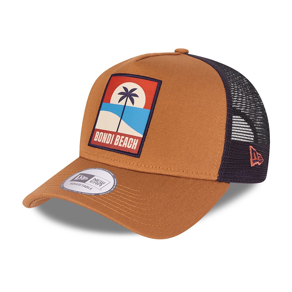 Casquette écusson estival A-Frame Trucker New Era, marron
